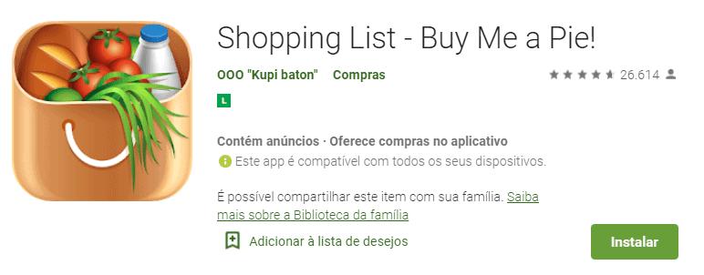 tela do aplicativo de compras buy me a pie