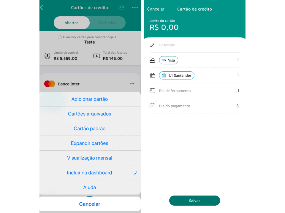 cartão de crédito Mobills