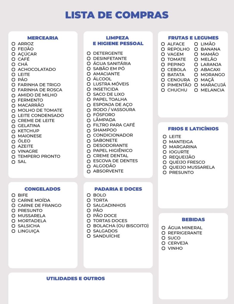 Exemplo de lista de supermercado