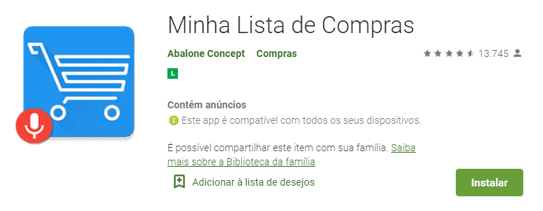 tela do aplicativo de compras minha lista de compras