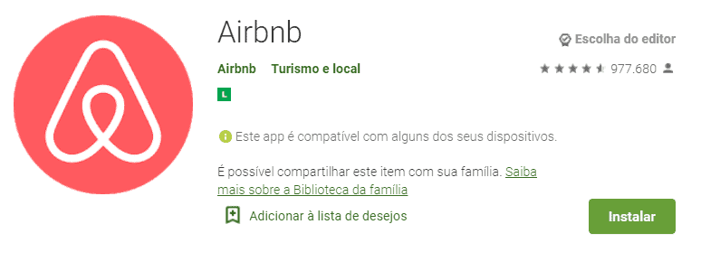 tela do aplicativo de desconto: airbnb