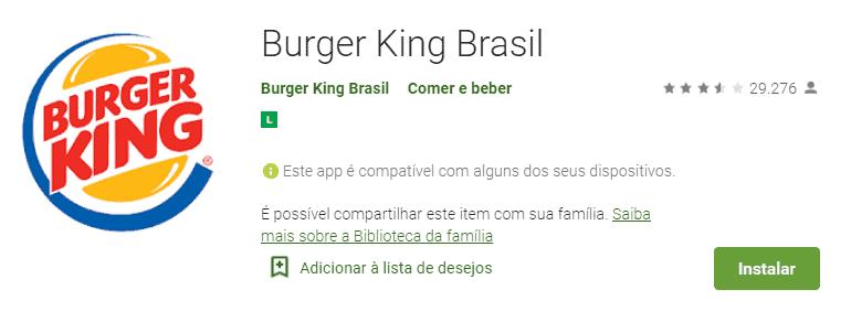 tela do app de pedir comida com desconto: burger king