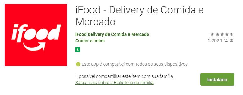 tela do app de pedir comida com desconto: ifood
