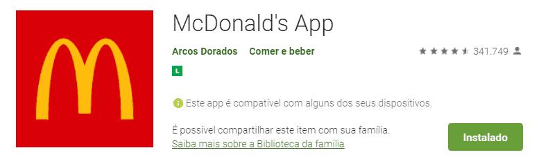 tela do app para pedir comida com desconto: mcdonalds