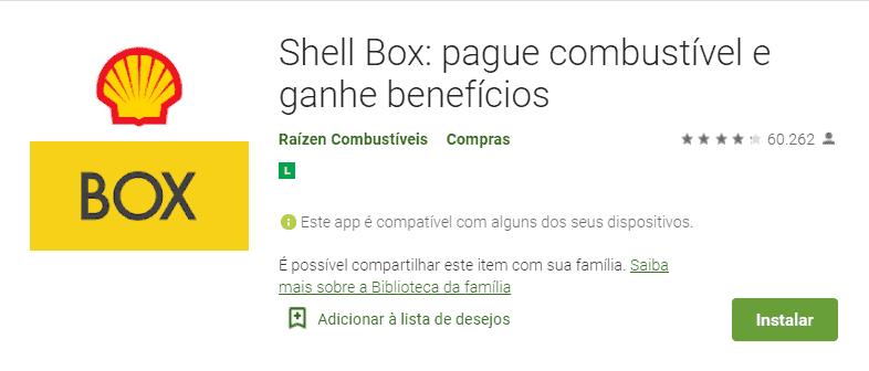 tela do app de desconto shell box