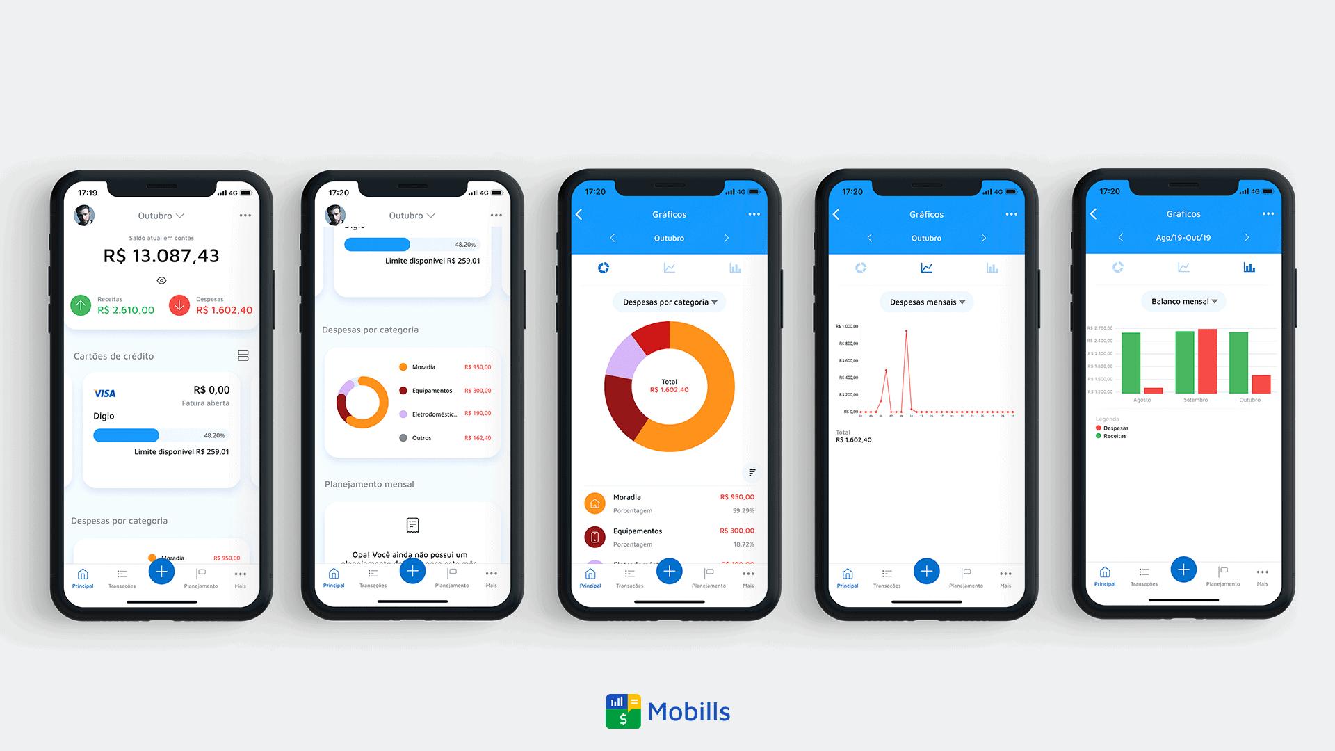 Imagem representando o controle de gastos no Mobills para saber como economizar dinheiro