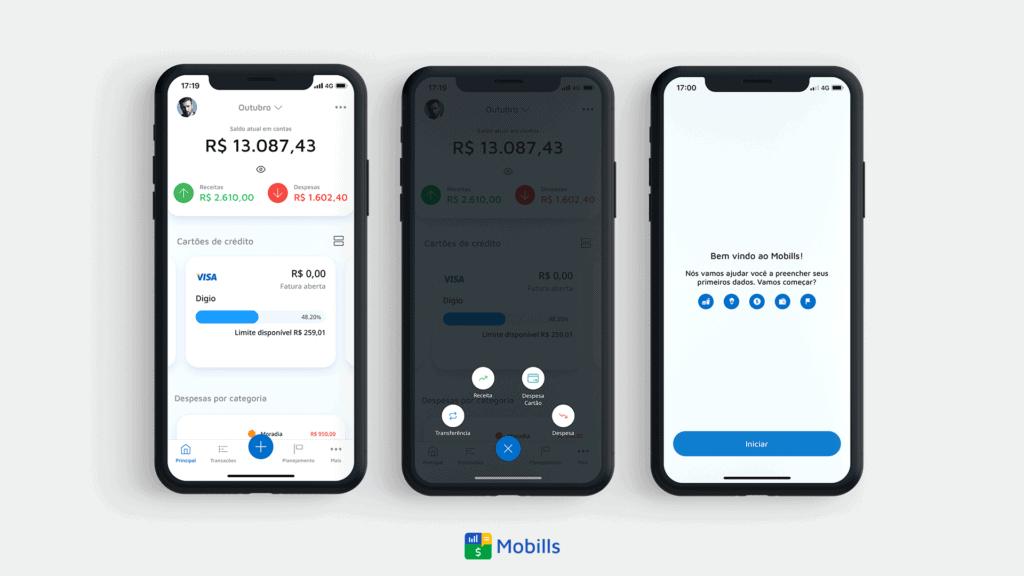 Tela do aplicativo Mobills representando o controle financeiro para cortar gastos e juntar dinheiro