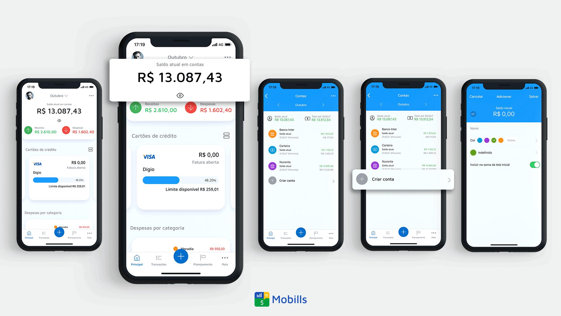 Tela do Mobills mostrando o controle e análise de contas
