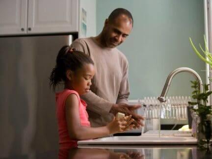 Imagem de uma família lavando os pratos em casa, é importante que eles tenham um bom orçamento pessoal e familiar