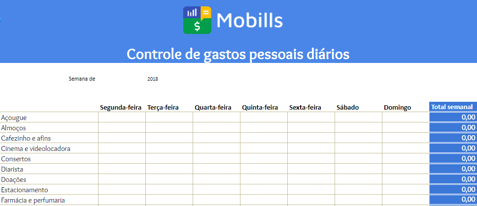 planilha de gastos mobills