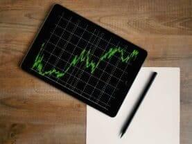 Gráfico simbolizando como investir em ações