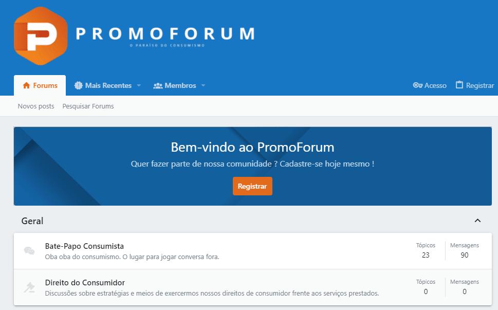 Print da tela do promoforum, dica de site para você que quer saber como economizar dinheiro