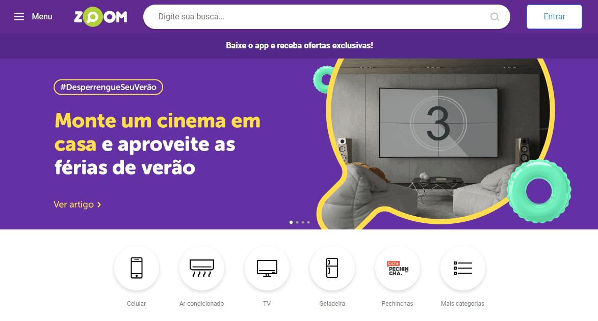 Print da tela do site zoom