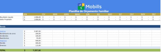 Modelo 3 de planilha de orçamento familiar