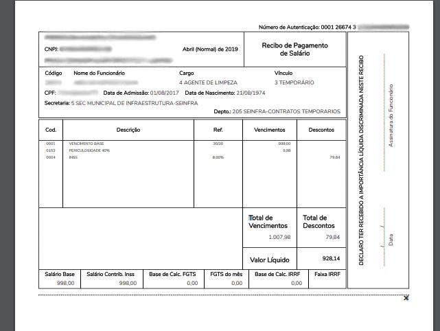 Contracheque representando a renda dentro do orçamento pessoal