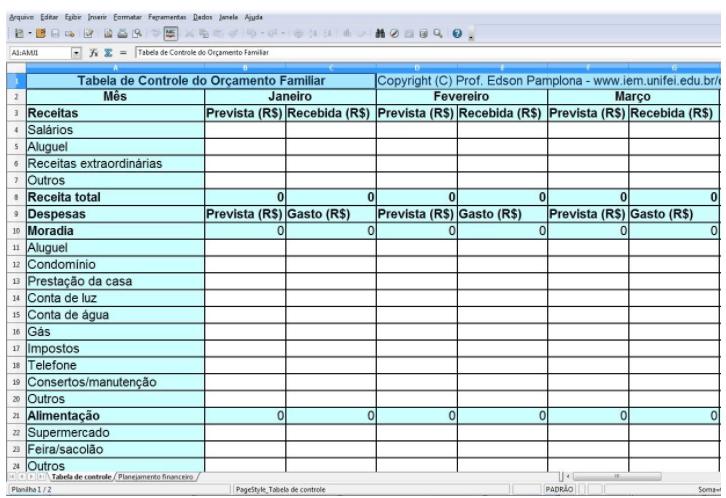 Modelo 1 de planilha de orçamento familiar