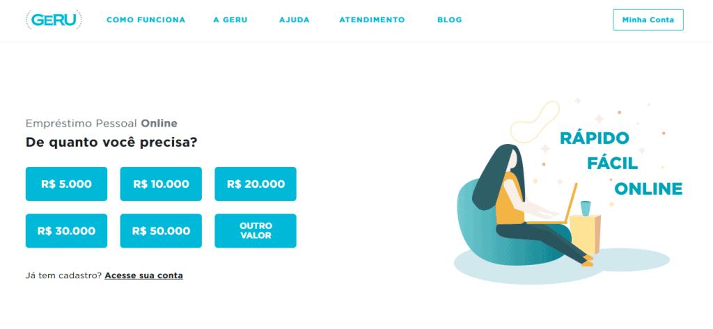 Plataforma de uma das empresas confiáveis para empréstimo pessoal