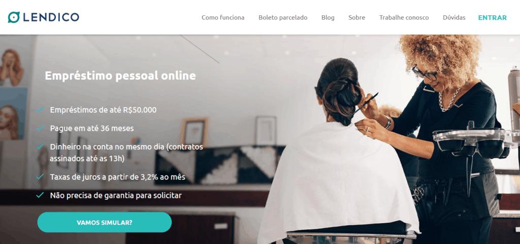 Site da Lendico, uma das empresas que emprestam dinheiro