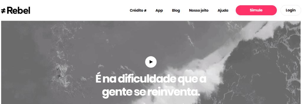 Site da Rebel para solicitação de empréstimo