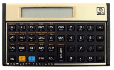Modelo de calculadora HP 12C para o cálculo do Custo Efetivo Total