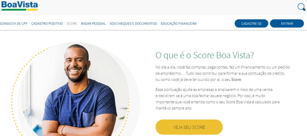 Site do Boa Vista (SCPC) para consulta de pontuação