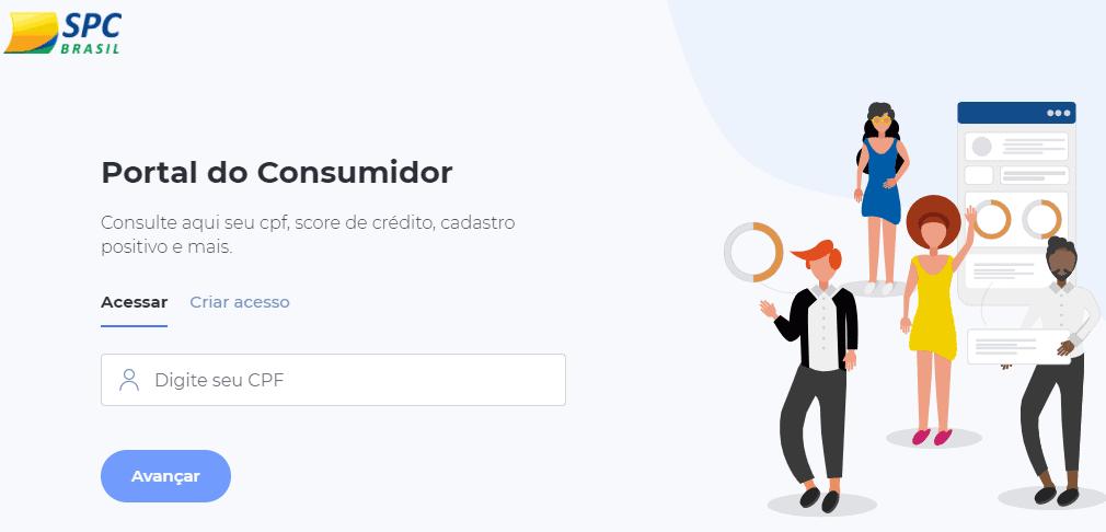 Página do SPC Brasil para consulta de pontuação