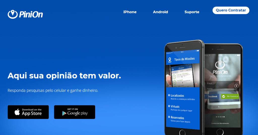 Site do PiniOn, uma das formas de ganhar dinheiro na internet
