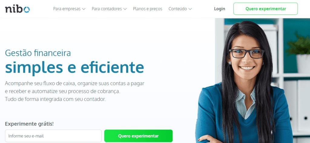 Site que oferece sistema de gestão financeira