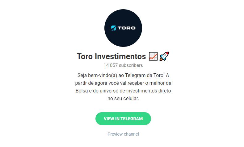 Canal do Telegram Toro