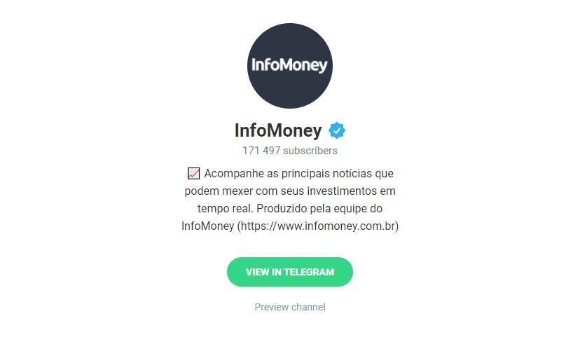 Canais Telegram: InfoMoney