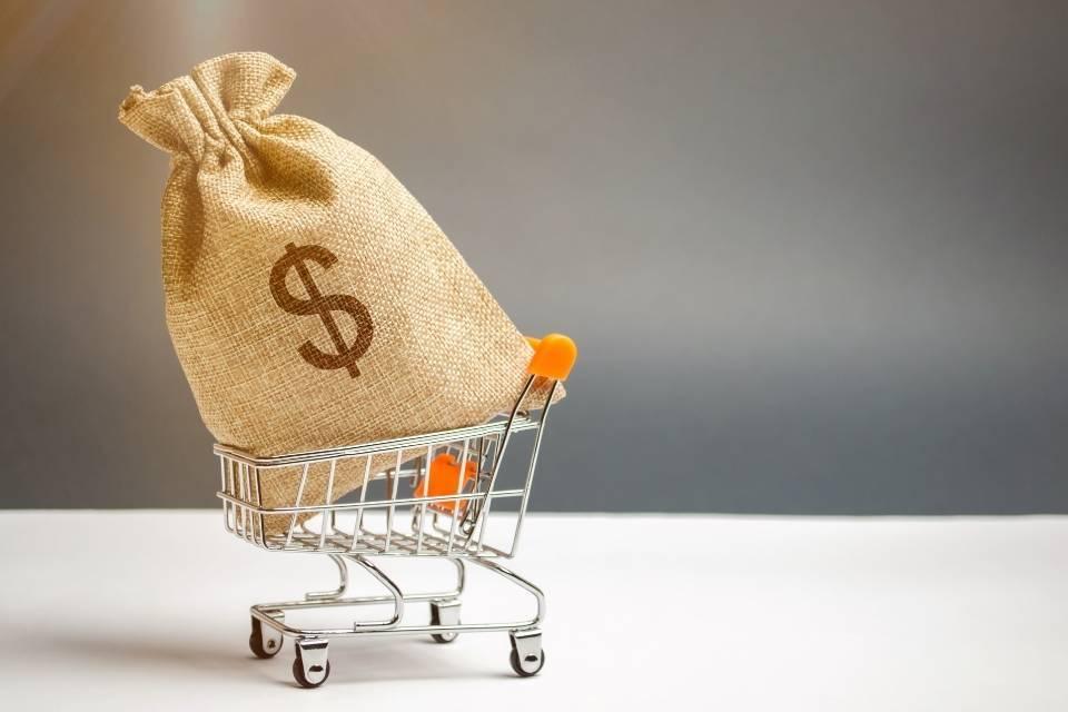 Carrinho de compras com saco de dinheiro
