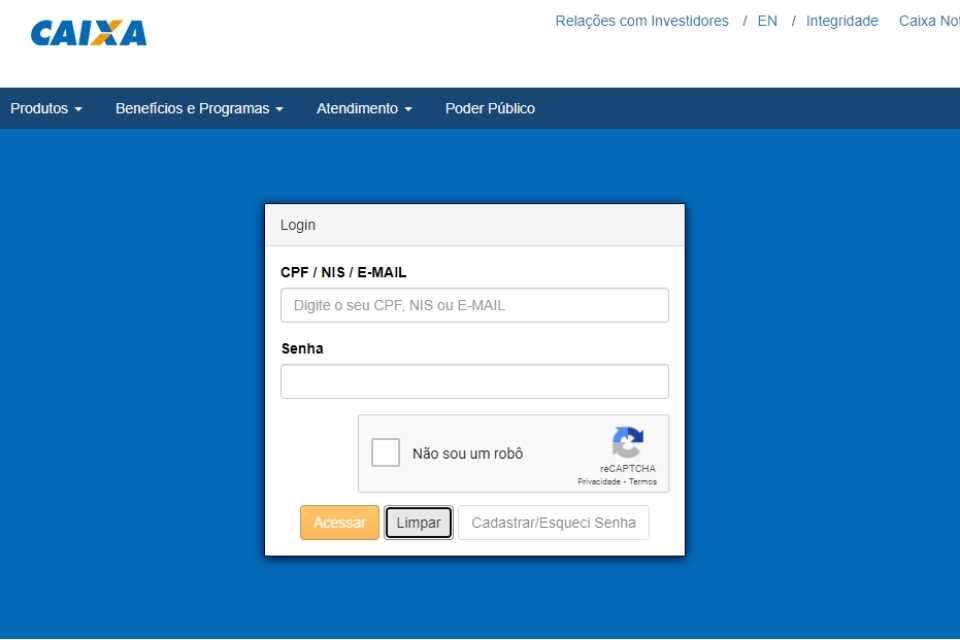 Fazer consulta do FGTS pelo CPF no site da Caixa Econômica