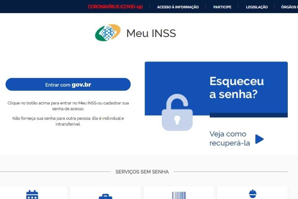Site Meu INSS para consulta de rg pelo cpf