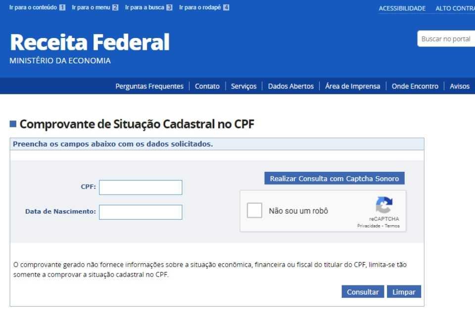 Site Receita Federal para consultar CPF regular