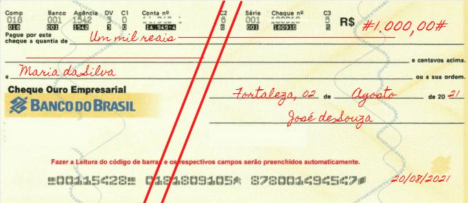 Exemplo de cheque pré-datado e cruzado
