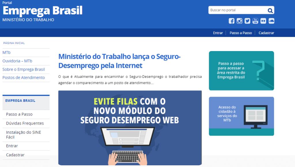 Portal Emprega Brasil: responsável por receber as solicitações de seguro desemprego online.